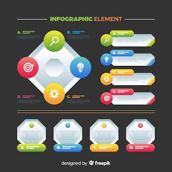 Coleção de elementos infográfico colorido liso