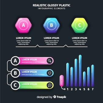 Coleção de elementos infográfico colorido realista