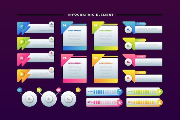 Coleção de elementos infográfico colorido sobre fundo moderno