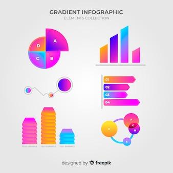Coleção de elementos infográfico com estilo gradiente