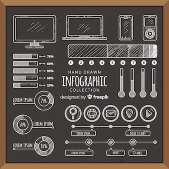 Coleção de elementos infográfico de quadro-negro