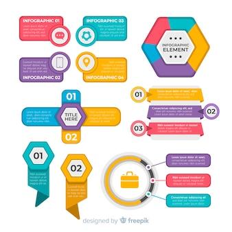 Coleção de elementos infográfico design plano