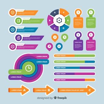 Coleção de elementos infográfico em design plano