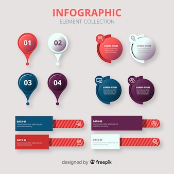 Coleção de elementos infográfico em estilo gradiente
