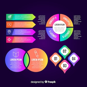 Coleção de elementos infográfico em estilo simples