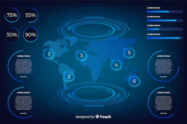 Coleção de elementos infográfico futurista escuro