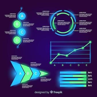 Coleção de elementos infográfico futurista plana