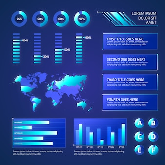 Coleção de elementos infográfico futurista