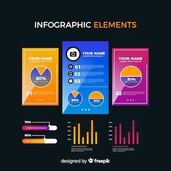 Coleção de elementos infográfico gradiente