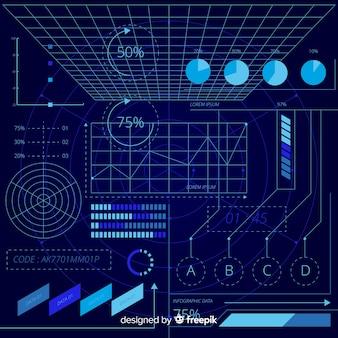 Coleção de elementos infográfico holográfico futurista
