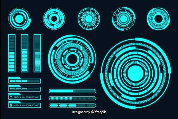 Coleção de elementos infográfico holograma futurista