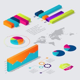 Coleção de elementos infográfico isométrica