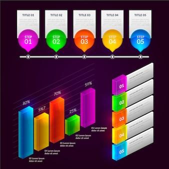 Coleção de elementos infográfico lustroso
