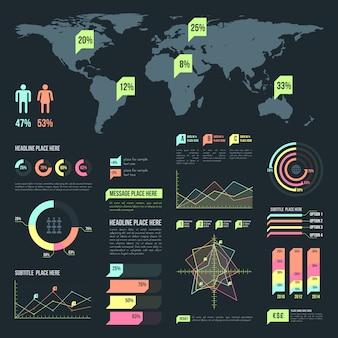Coleção de elementos infográfico luz