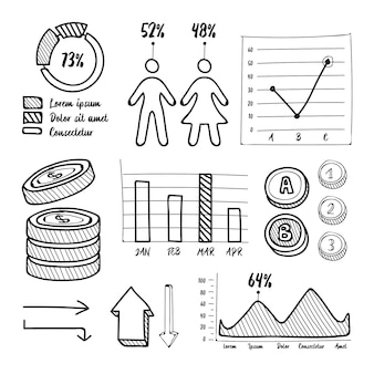Coleção de elementos infográfico mão desenhada