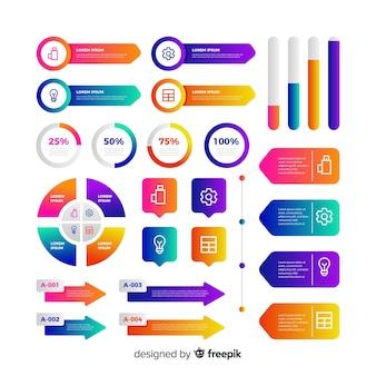 Coleção de elementos infográfico negócios gradiente