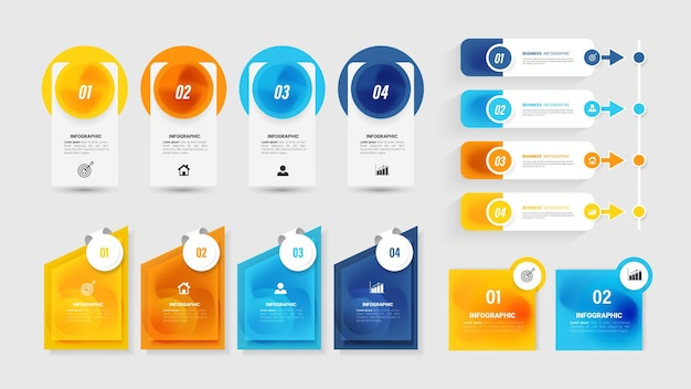 Coleção de elementos infográfico para apresentação