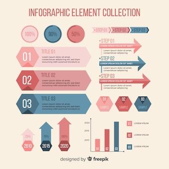 Coleção de elementos infográfico plana