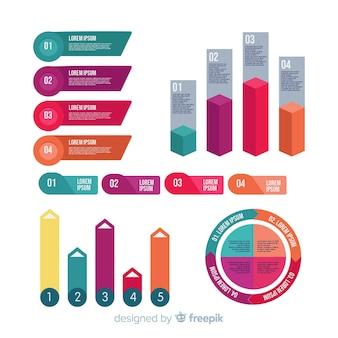 Coleção de elementos infográfico planas