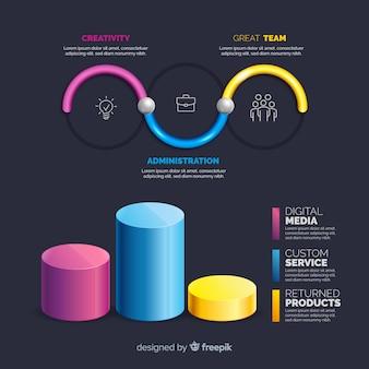 Coleção de elementos infográfico plástico realista