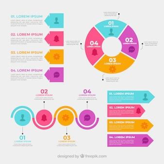 Coleção de elementos infográficos coloridos em estilo desenhado a mão