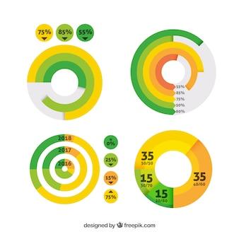 Coleção de elementos infográficos de design plano