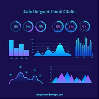 Coleção de elementos infográficos de gradiente