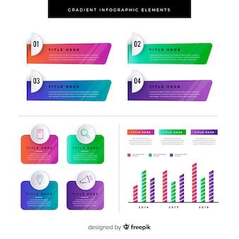 Coleção de elementos infográficos plana de gradiente