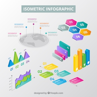 Coleção de elementos inforgraphic em estilo isométrico