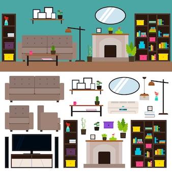 Coleção de elementos interiores de sala de estar