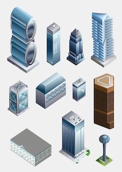 Coleção de elementos isométricos da cidade