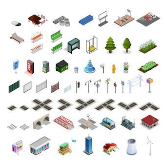Coleção de elementos isométricos de construtor de mapa de cidade