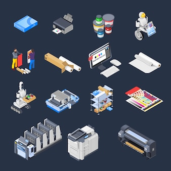 Coleção de elementos isométricos de impressão