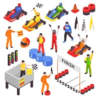 Coleção de elementos isométricos de karting