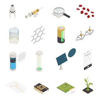 Coleção de elementos isométricos de nanotecnologia nanociência
