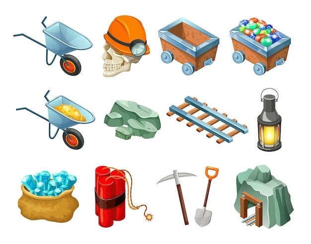 Coleção de elementos isométricos do jogo de mineração