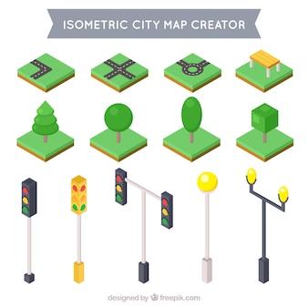 Coleção de elementos isométricos para decorar sua cidade