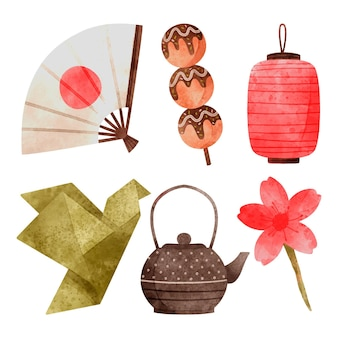 Coleção de elementos japoneses de aquarela