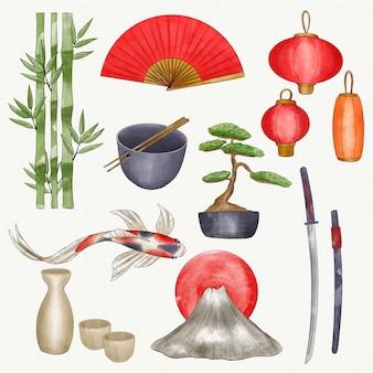 Coleção de elementos japoneses