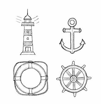 Coleção de elementos marinhos de contorno de doodle, como farol, bóia salva-vidas, âncora etc., isolado no fundo branco