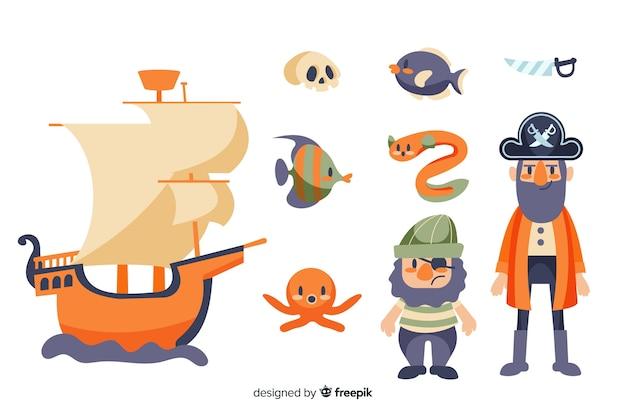 Coleção de elementos marinhos plana