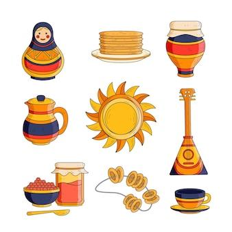 Coleção de elementos maslenitsa desenhados à mão