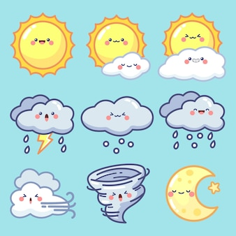 Coleção de elementos meteorológicos desenhados à mão
