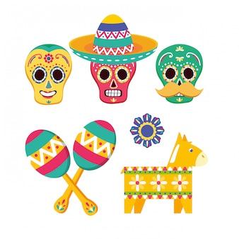 Coleção de elementos mexicanos