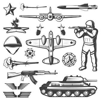 Coleção de elementos militares vintage