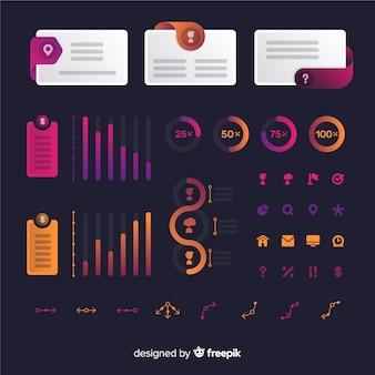 Coleção de elementos modernos infográfico com estilo gradiente