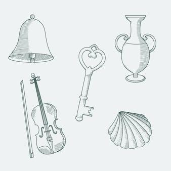 Coleção de elementos monocromáticos desenhados à mão