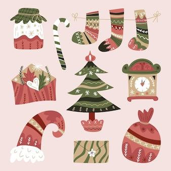 Coleção de elementos natalinos desenhados à mão