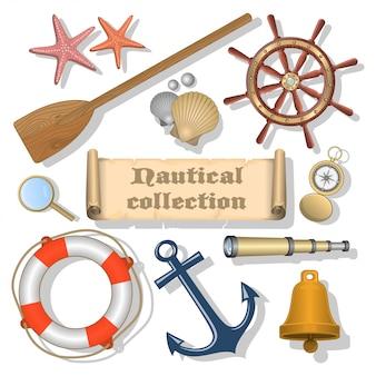 Coleção de elementos náuticos