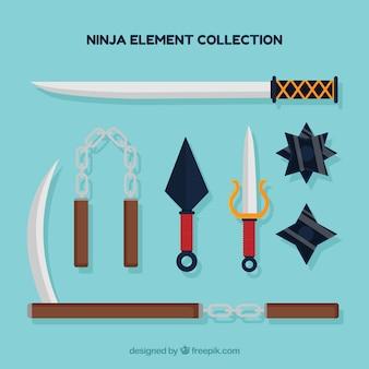 Coleção de elementos ninja colorido com design plano